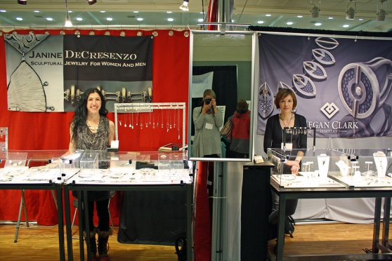 Booth shot with Janine Decresenzo and Megan Clark and myself in the mirror. Both had beautiful displays and were a pleasure to work with.